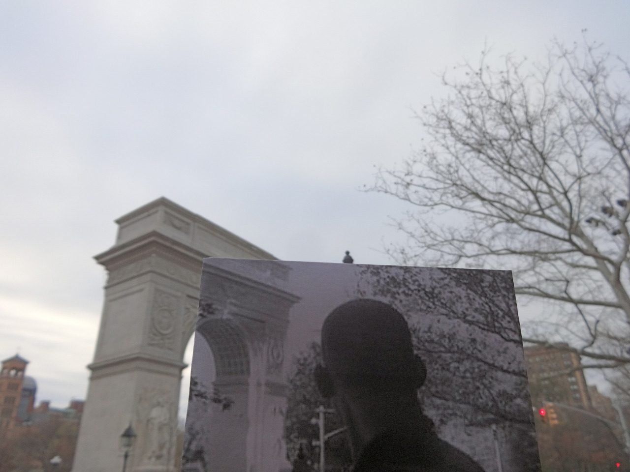"""I Am Logend"" (2007) location on  Washington Square Park .  Image: Christopher Moloney and his series  FILMography"