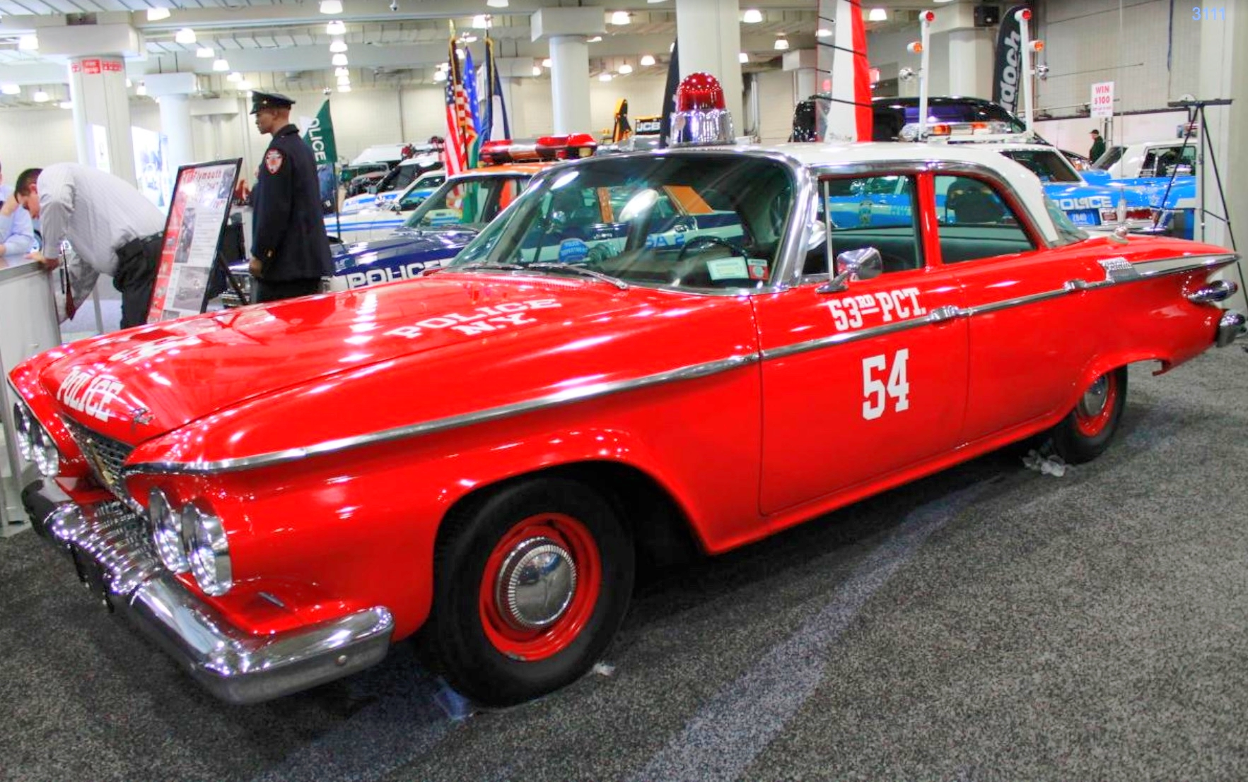 "1961 PLYMOUTH SAVOY –  If you're thinking there might be something fishy about a cop car with a red paint job, you're absolutely right. This '61 Plymouth was a prop for the 1960s show ""Car 54, Where Are You?"""