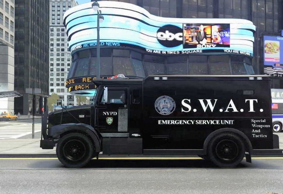 SWAT (Special Weapons And Tactics) NYPD car in Times Square