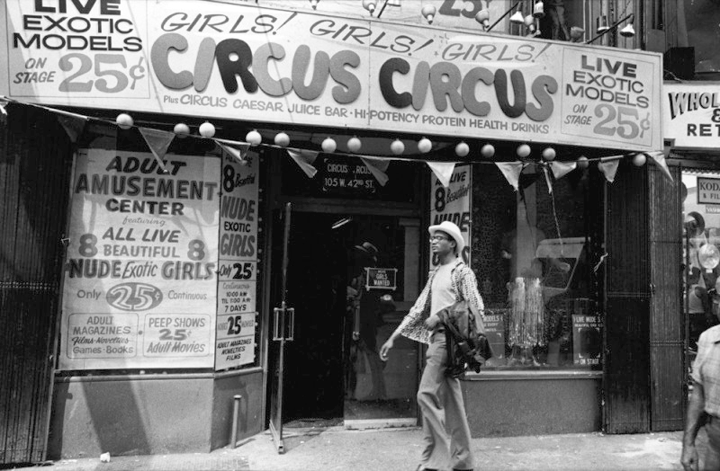Times Square   , a modern-day tourist mecca, was full of peep shows and adult video stores, effectively becoming the epicenter of the sex industry by 1981.