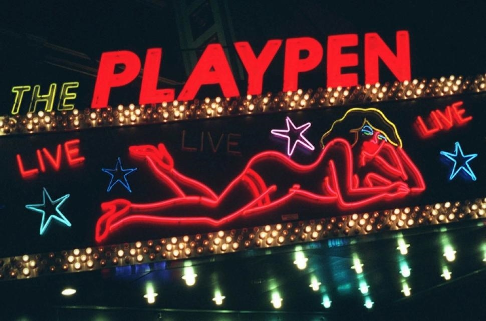 The Playpen sex shop near Times Square shuttered in 2007. A Shake Shack has since opened in its location – 8th Avenue and 42nd Street.