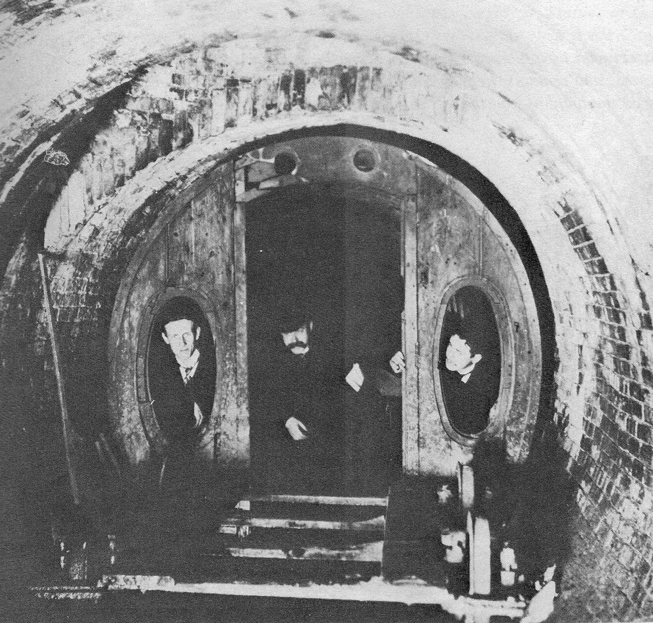 Beach's subway closed in 1873. The tunnel was used as a shooting gallery and then shut off for good by 1900, damaged by a fire in the building above it.  In 1912 workers excavating a tunnel for the N and R trains came upon the old tunnel and wooden subway car (above). So where is the tunnel now? The consensus seems to be that it was destroyed during construction of other downtown stations.
