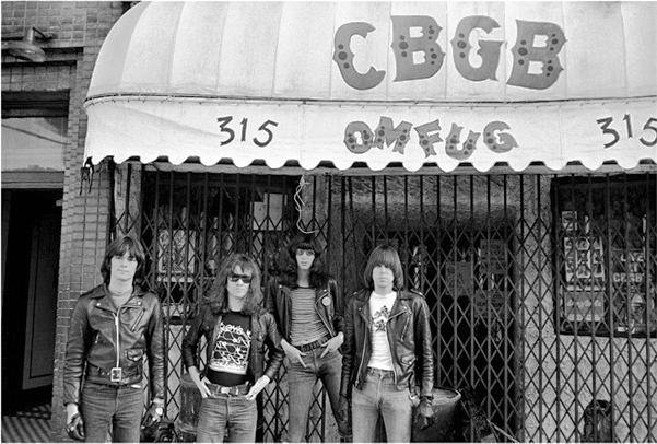 The Ramones at CBGB storefront (1974).   Photo courtesy of Gypsy Warrior.