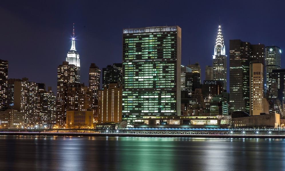 The Empire State Building (left), United Nations (center), and Chrysler Building (right)