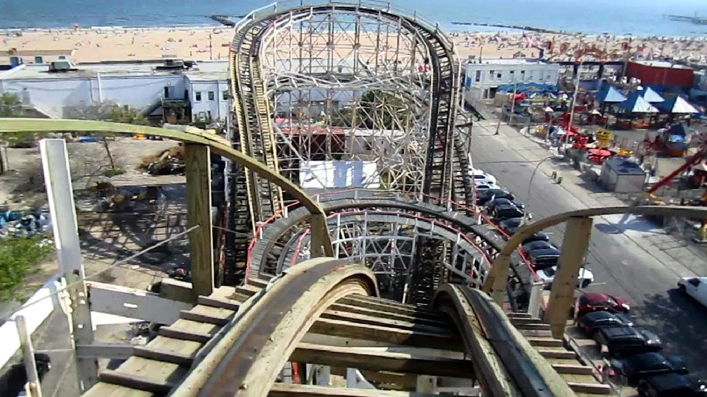 Cyclone is in Luna Park, in Coney Island. The beach view is Brighton Beach. In 2017, Cyclone is celebrating 90 years.