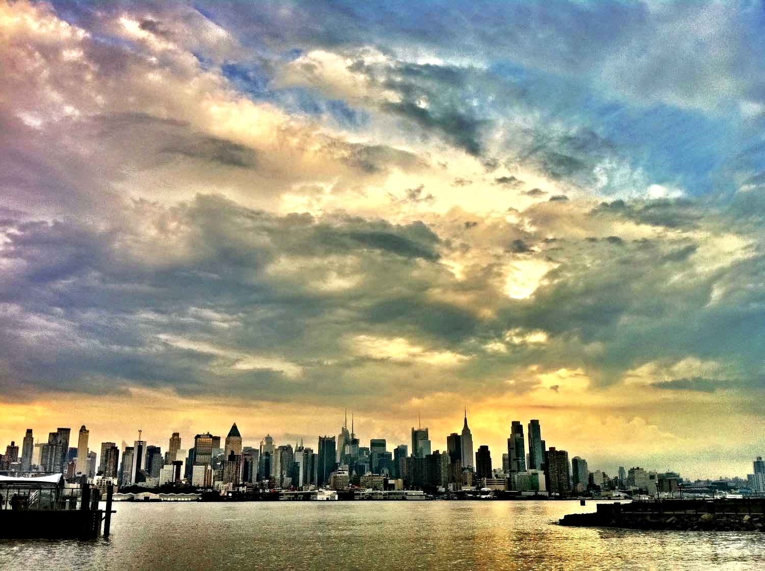 The New York City skyline after a stormy afternoon from Weehawken, NJ