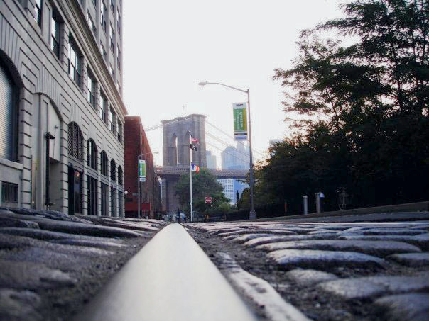 The Brooklyn Bridge seen from a different and interesting angle in  DUMBO