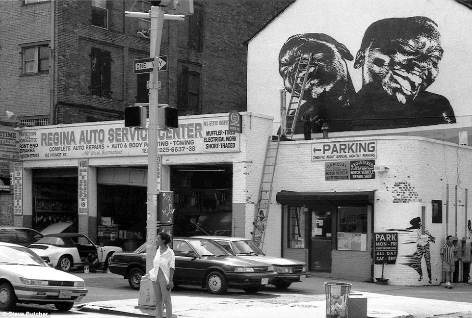 Steve Butcher took photographs of his neighborhood in the    Lower East Side    and    East Village    during the last years before it evolved from gritty to gentrified.   On this photo   Mr.Butcher captures the Auto Service Center on the corner of    Lafayette and Prince Street   (in Soho) as it was being used by French street artist WK to do a piece on model Alek Wek.    Click here to see it today on Google Street View.