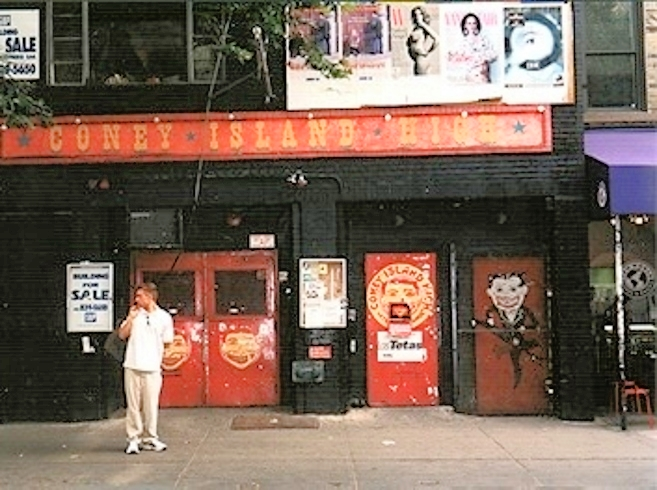 Coney Island High, located on 15 St. Mark's Place in Manhattan, was the most popular punk venue in New York through much of the '90s. The venue was demolished in the early '00s and replaced with a condo building, and now there's a sushi restaurant on the ground floor.