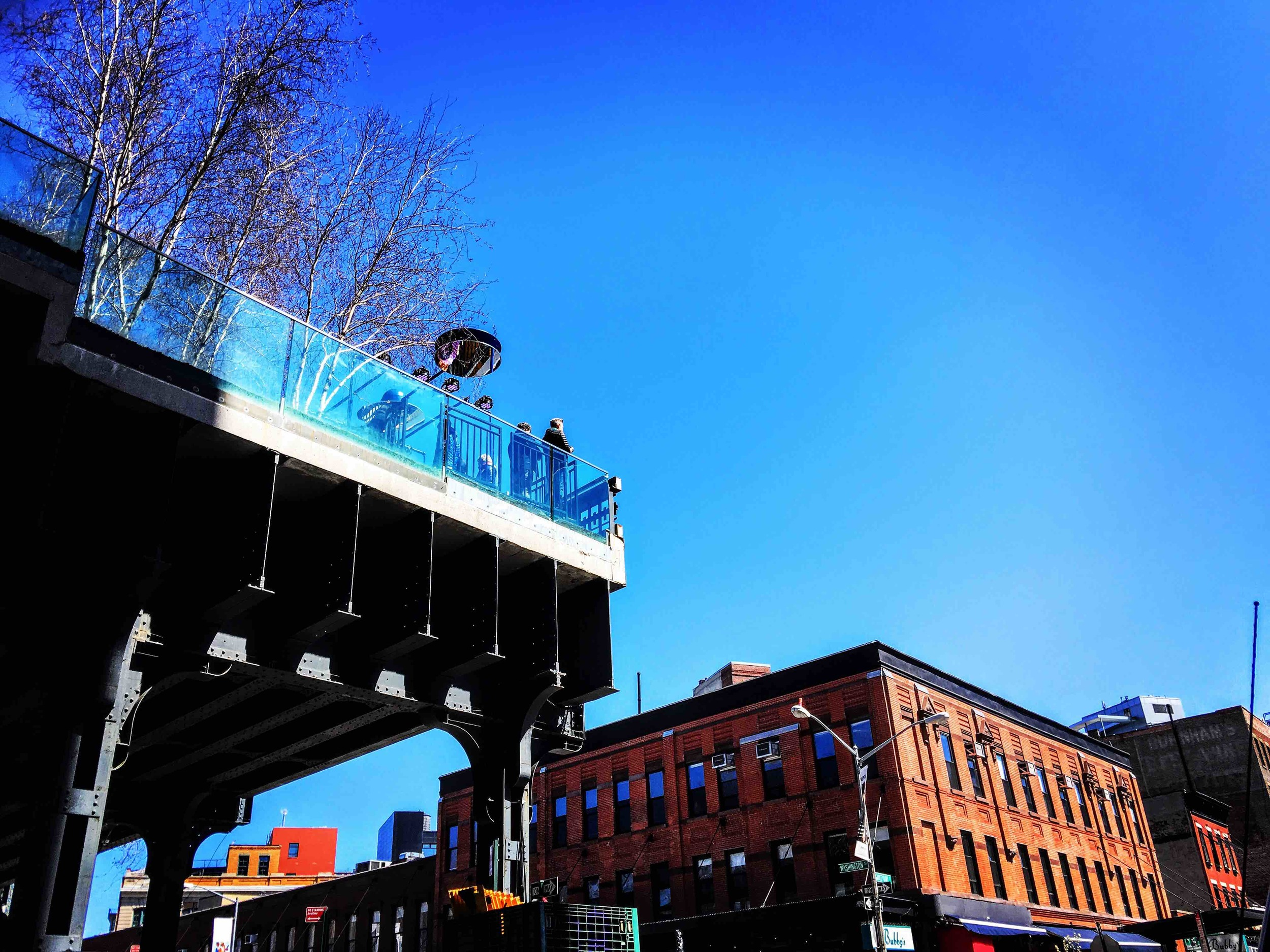 The High Line begins in the Meatpacking District on 12th Street
