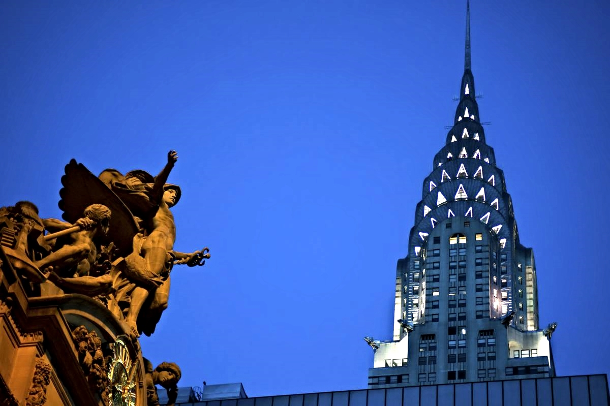 The crown of the Chrysler Building seen from Grand Central Terminal