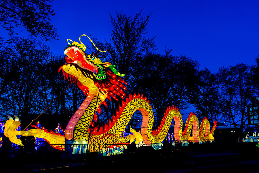 A 200-foot Chinese dragon is one of the many illuminated attractions at the Chinese Lantern Festival in Franklin Square (Image credit: J. Fusco for Historic Philadelphia, Inc.)