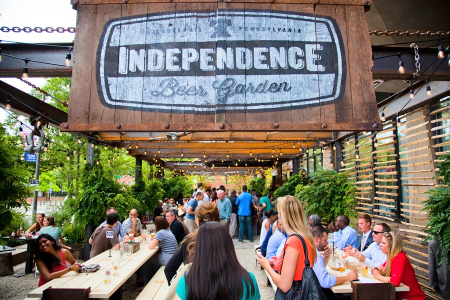 The Independence Beer Garden is one of many bars and restaurants offering drink specials during Center City Sips, held Wednesdays throughout the summer (Image credit: M. Fischetti for Visit Philadelphia)