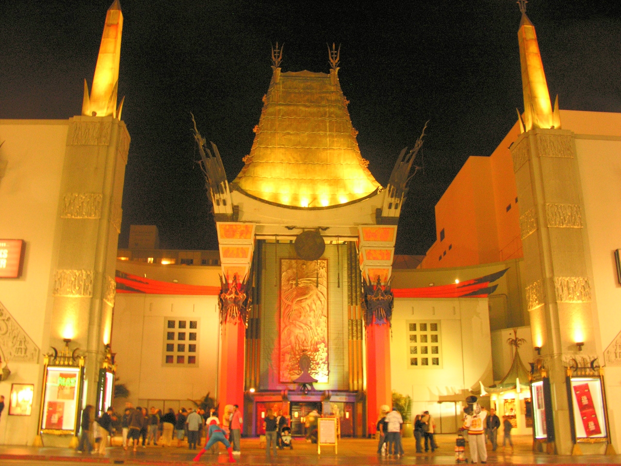 Grauman's Chinese Theater     TCL Chinese Theatre is a cinema palace on the historic Hollywood Walk of Fame at 6925 Hollywood Boulevard in Hollywood, California, United States. Originally known (and still commonly referred to) as Grauman's Chinese Theatre, it was renamed Mann's Chinese Theatre in 1973; the name lasted until 2001, after which it reverted to its original name.