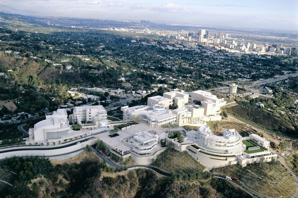Aerial view of The Getty Center Museum.    Click here for further info.