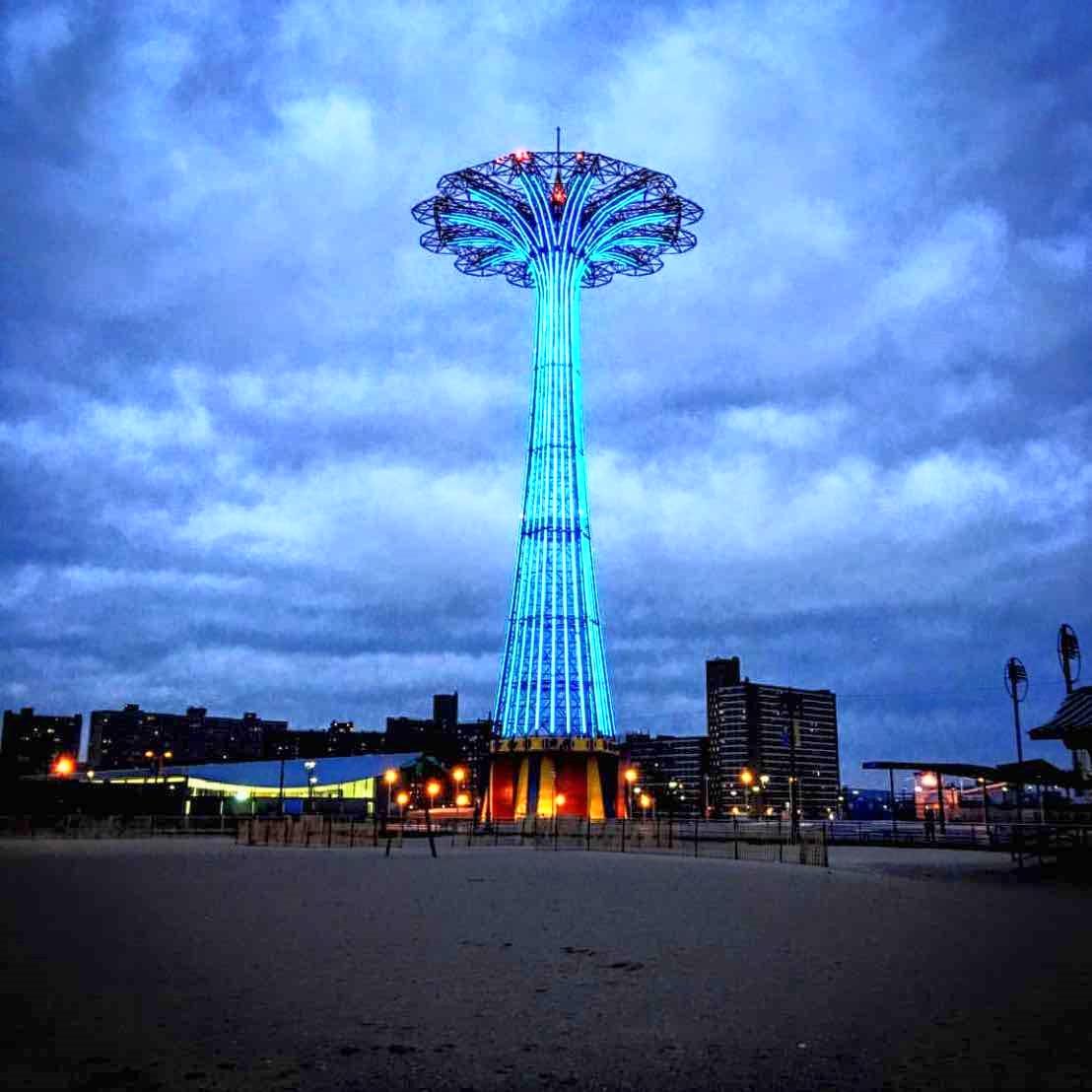 Luna Park at night, from Brighton Beach