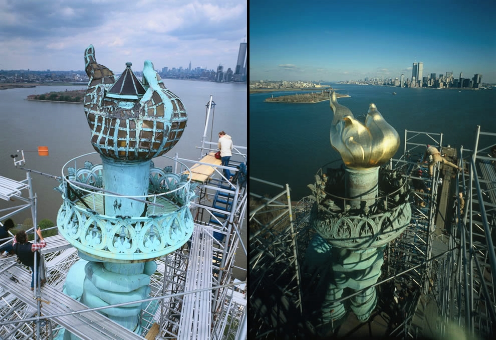 """Left: 1984 — View of the """"old"""" flame, torch platform and fingers on hand, looking northeast. Right: 1985 — New torch and flame in place as workers begin dismantling the scaffolding. During the day and at dusk, the gold-leaf coating on the new torch reflects the sun's rays; after dark, 16 floodlights light up in the torch, light it up.(Photo by Jack E. Boucher / Library of Congress)"""