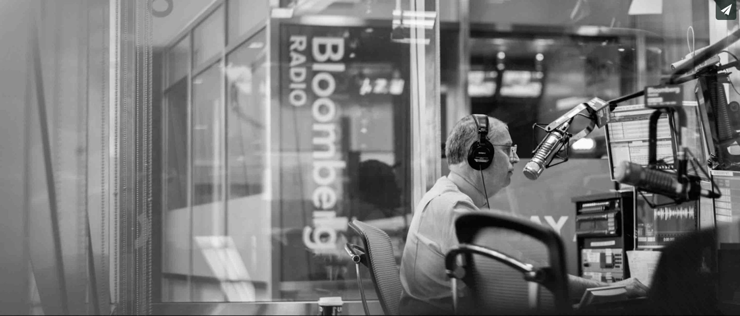 Charlie working at the Bloomberg Radio, New York City