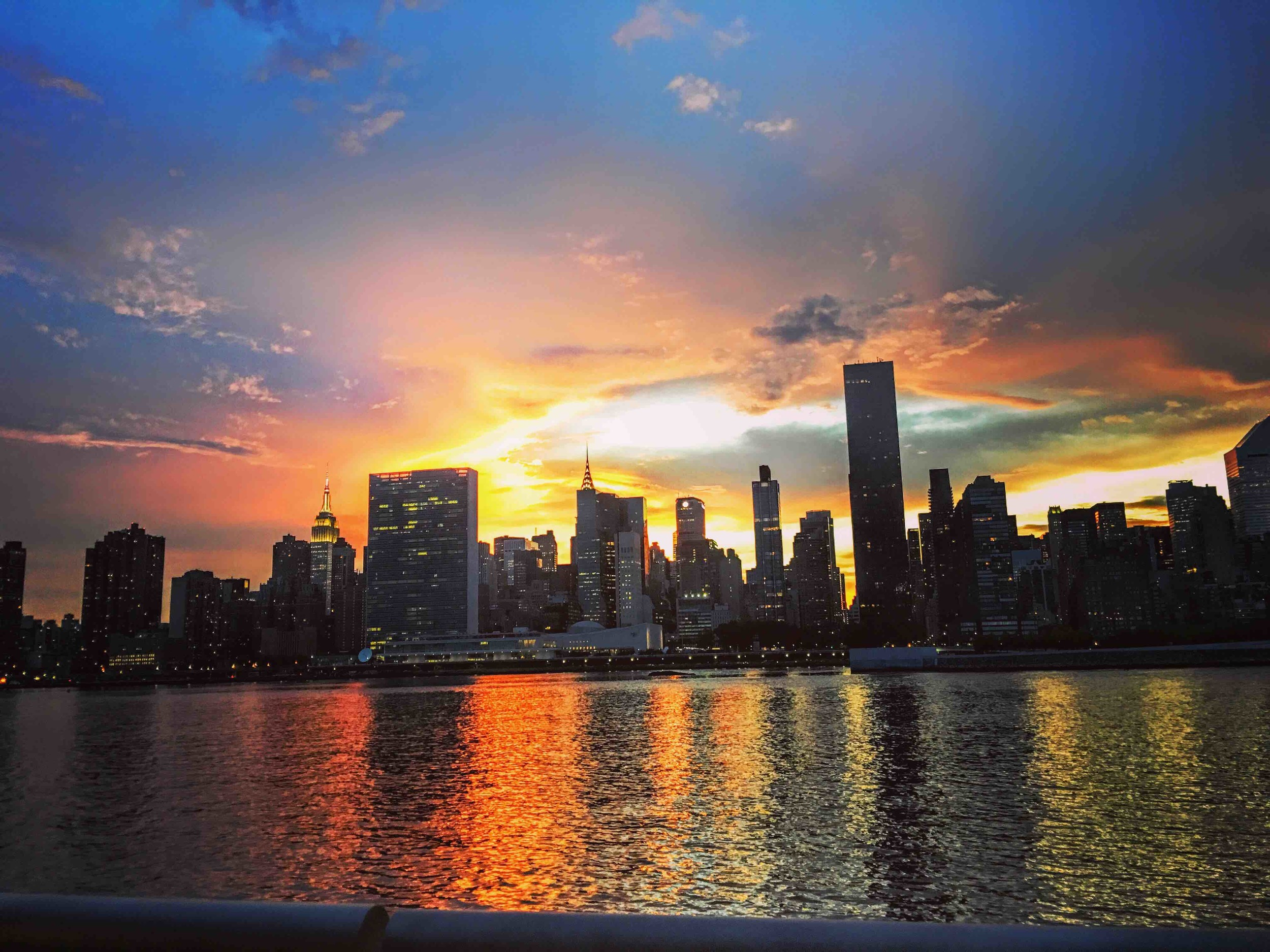 The United Nations building witnessing a beautiful, peaceful sunset –on August 12, 2016