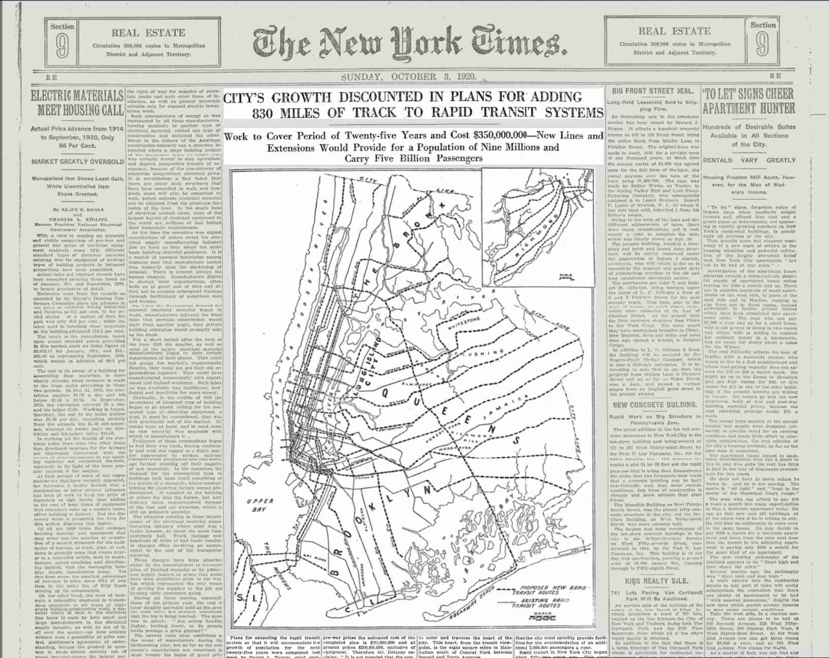 The New York Times - Sunday, October 3, 1920 (Image: courtesy of The New York Times)