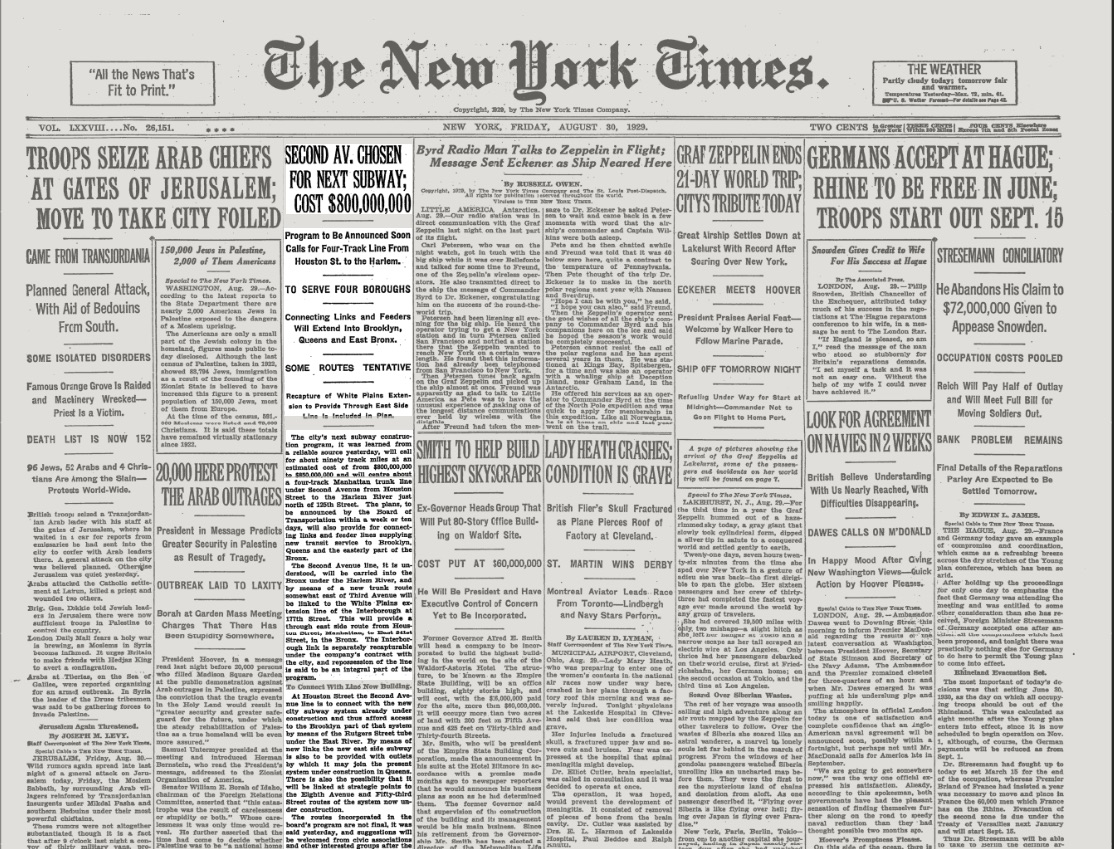 The New York Times - Friday, August 30, 1929 (Image: courtesy of The New York Times)