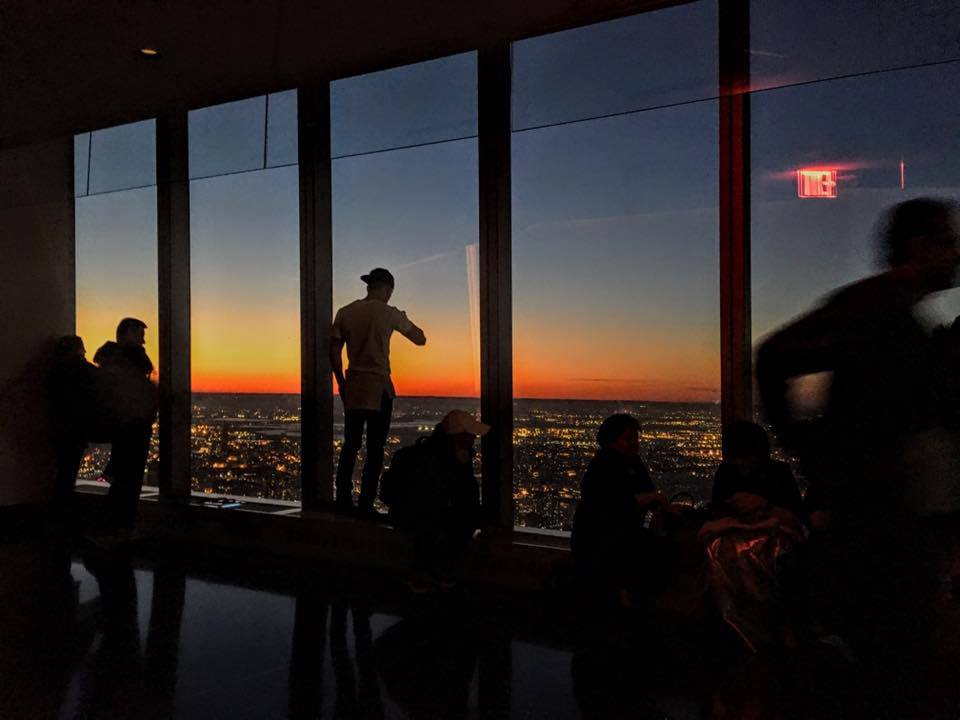 Watching the sunset from the 102nd floor of the One WTC is amazing
