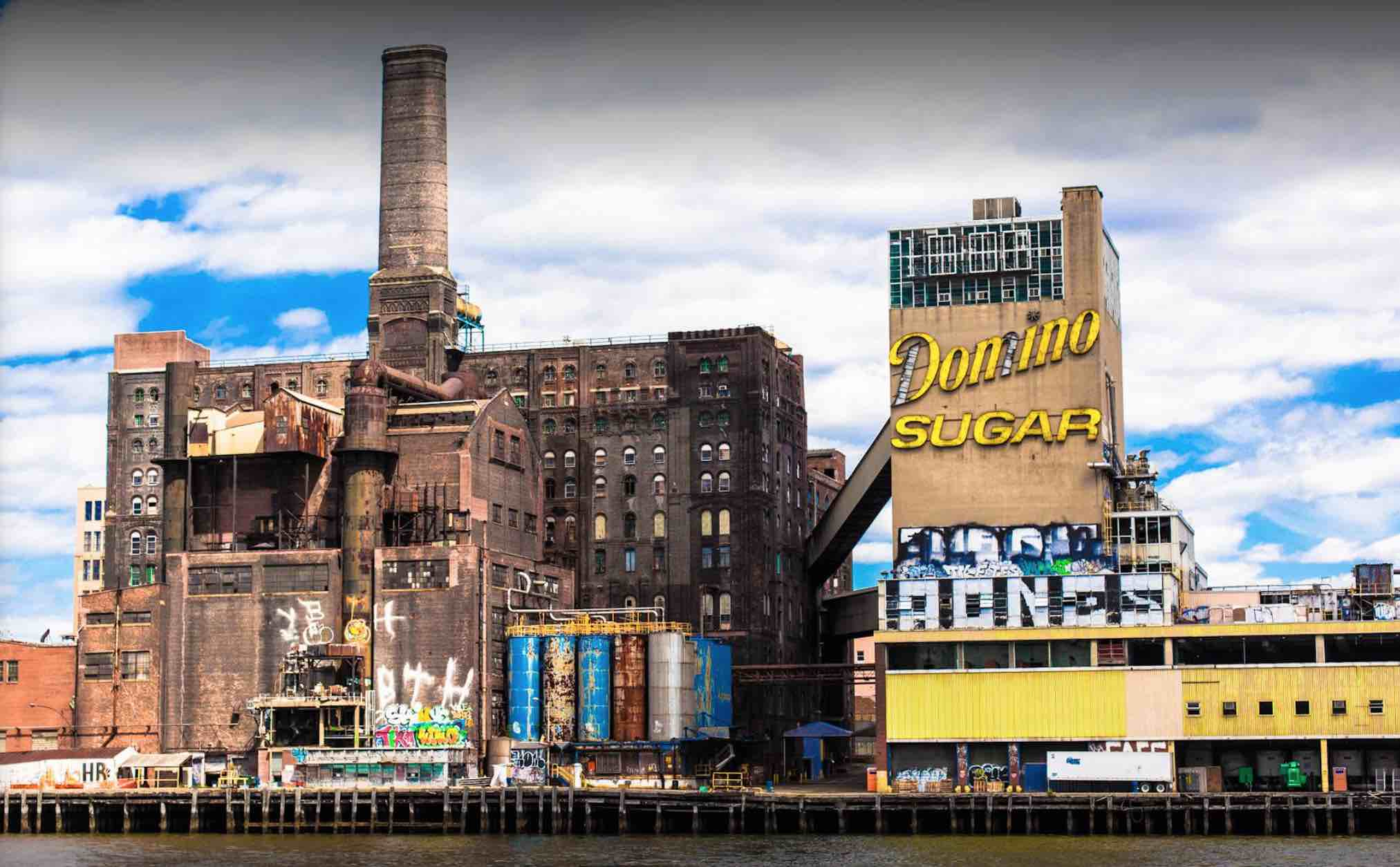 The Domino Sugar Refinery, in Williamsburg, Brooklyn – Refining operations stopped in 2004