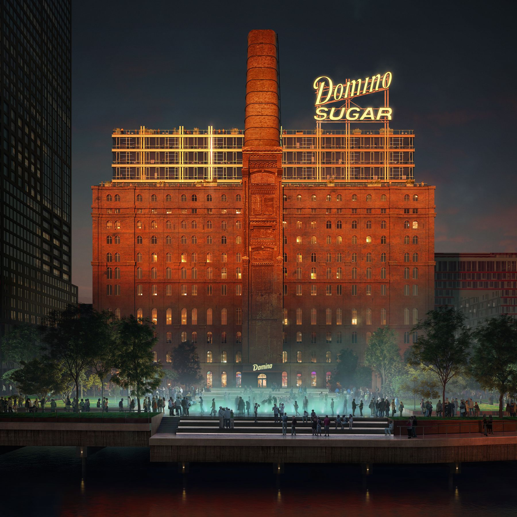 The revamped Domino Sugar Refinery building, which is in the process of being transformed into a 380,000-square-foot office space