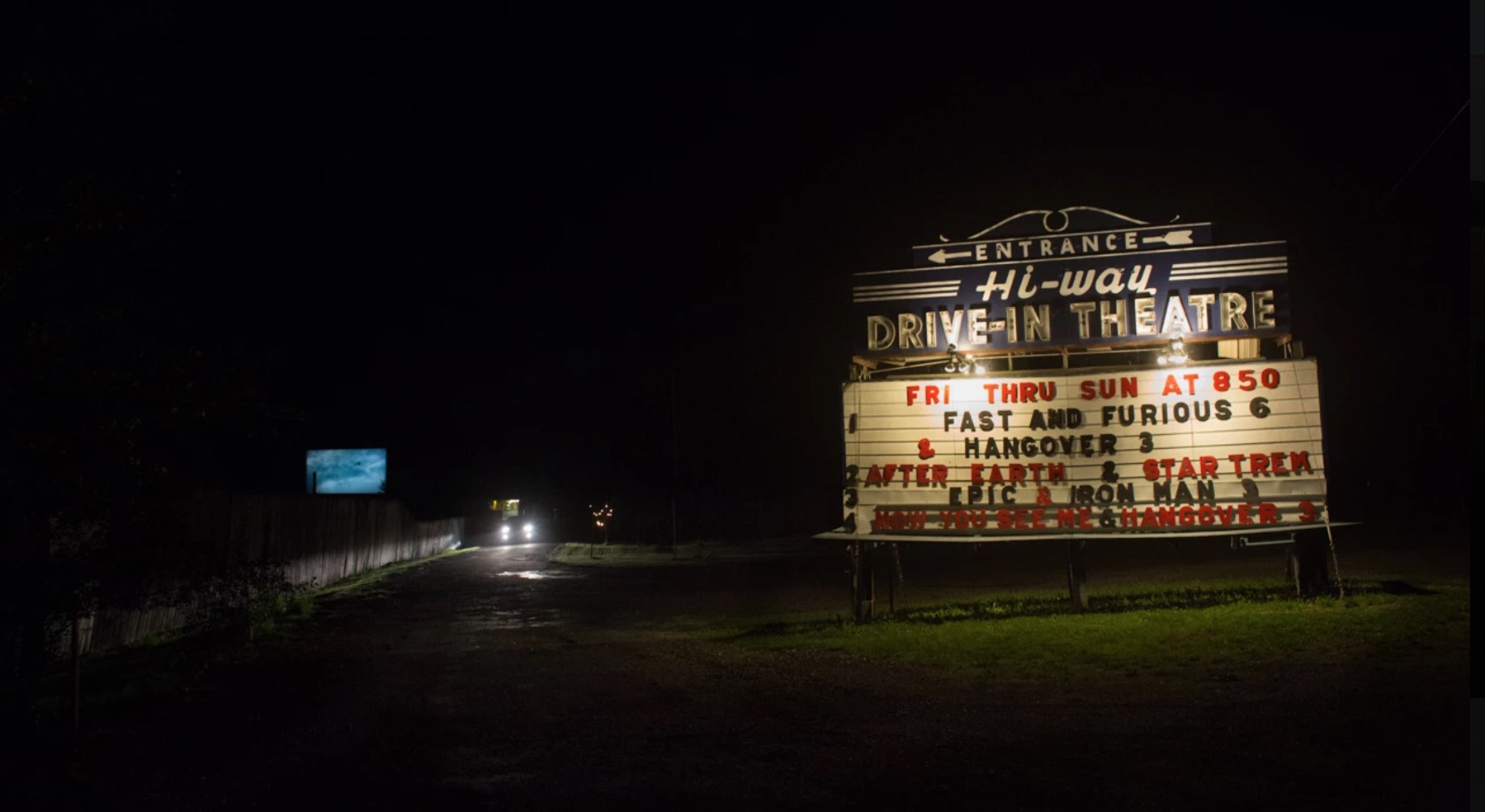 The Hi-Way Drive-in Theater illuminated sign