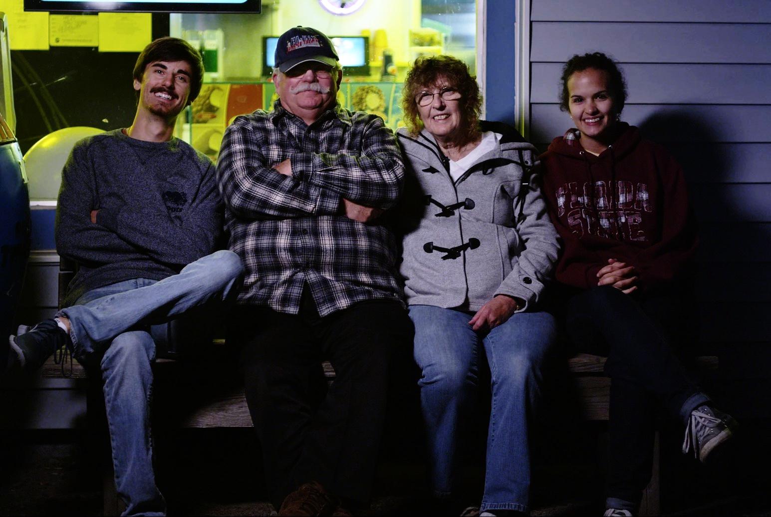Adam Carboni (filmmaker, far-right),Roger Babcock (Hi-Way's co-owner), Sharon Babcock (Hi-Way's co-owner), &Tansy Michaud (filmmaker, far-left)