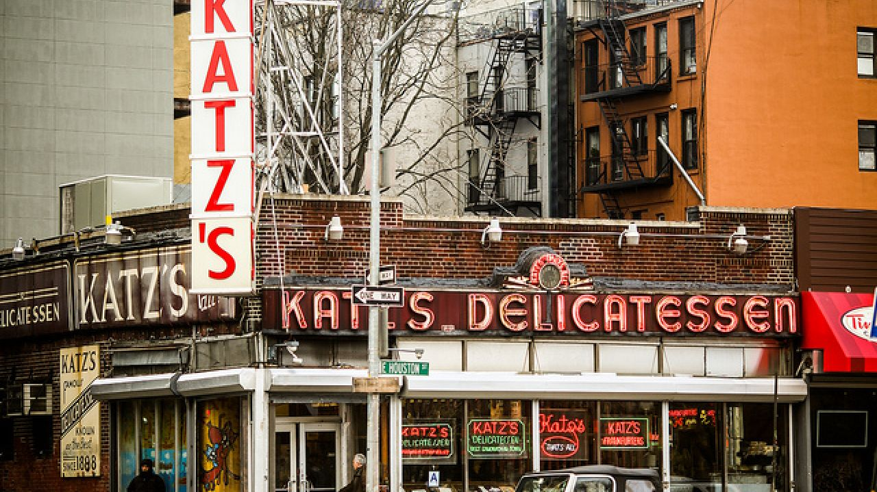 Katz's Deli at 205 East Houston Street (corner of Ludlow St) in the Lower East Side of Manhattan