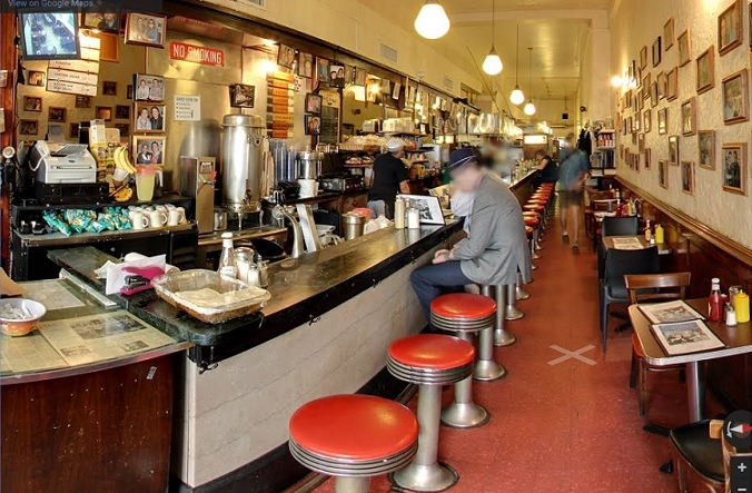 Breakfast All-day long –   Eisenberg's is known for their egg creams and matzo ball soup, and they serve breakfast all day long