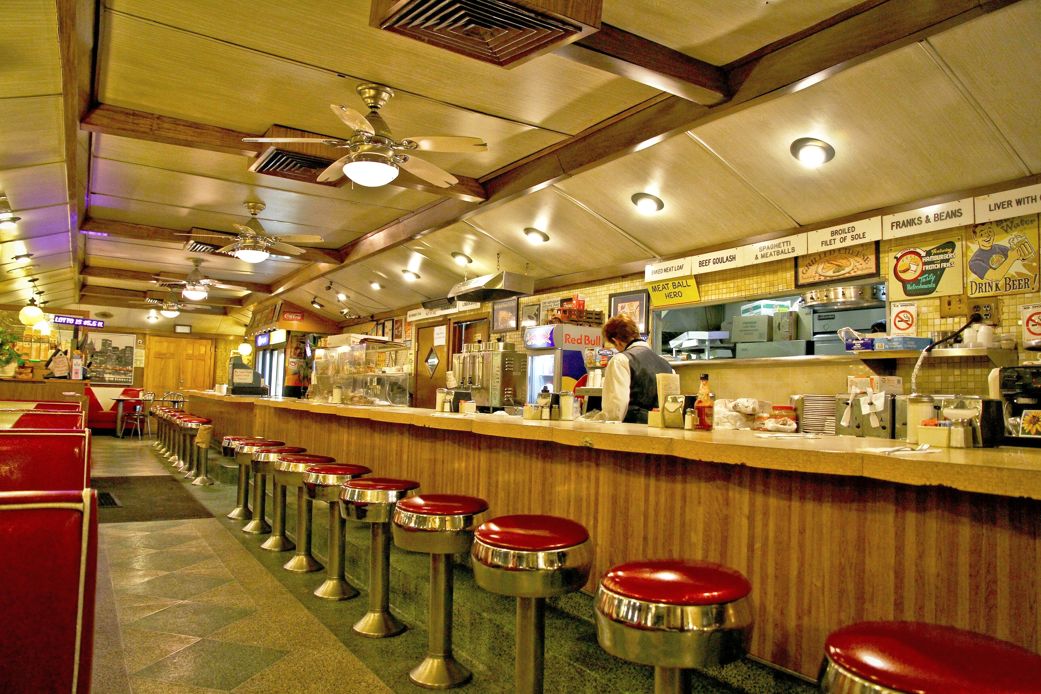 Chrome & neon accented eatery offering familiar diner fare & all-day breakfast in throwback digs at 5626 Maspeth Ave, Queens, NY | Open 24 hours | Phone (718) 894-1566