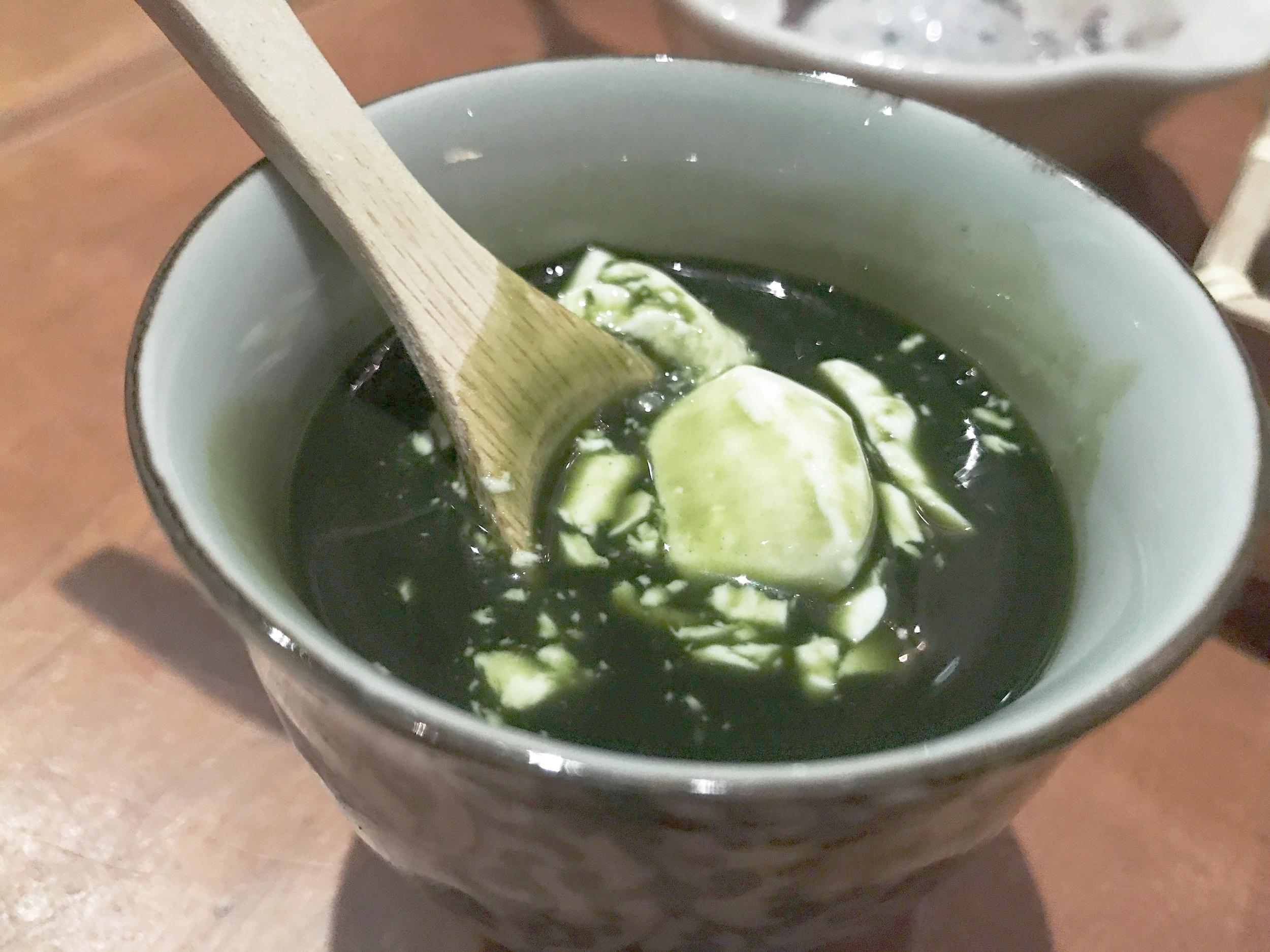 Green tea milk pudding with green tea cream