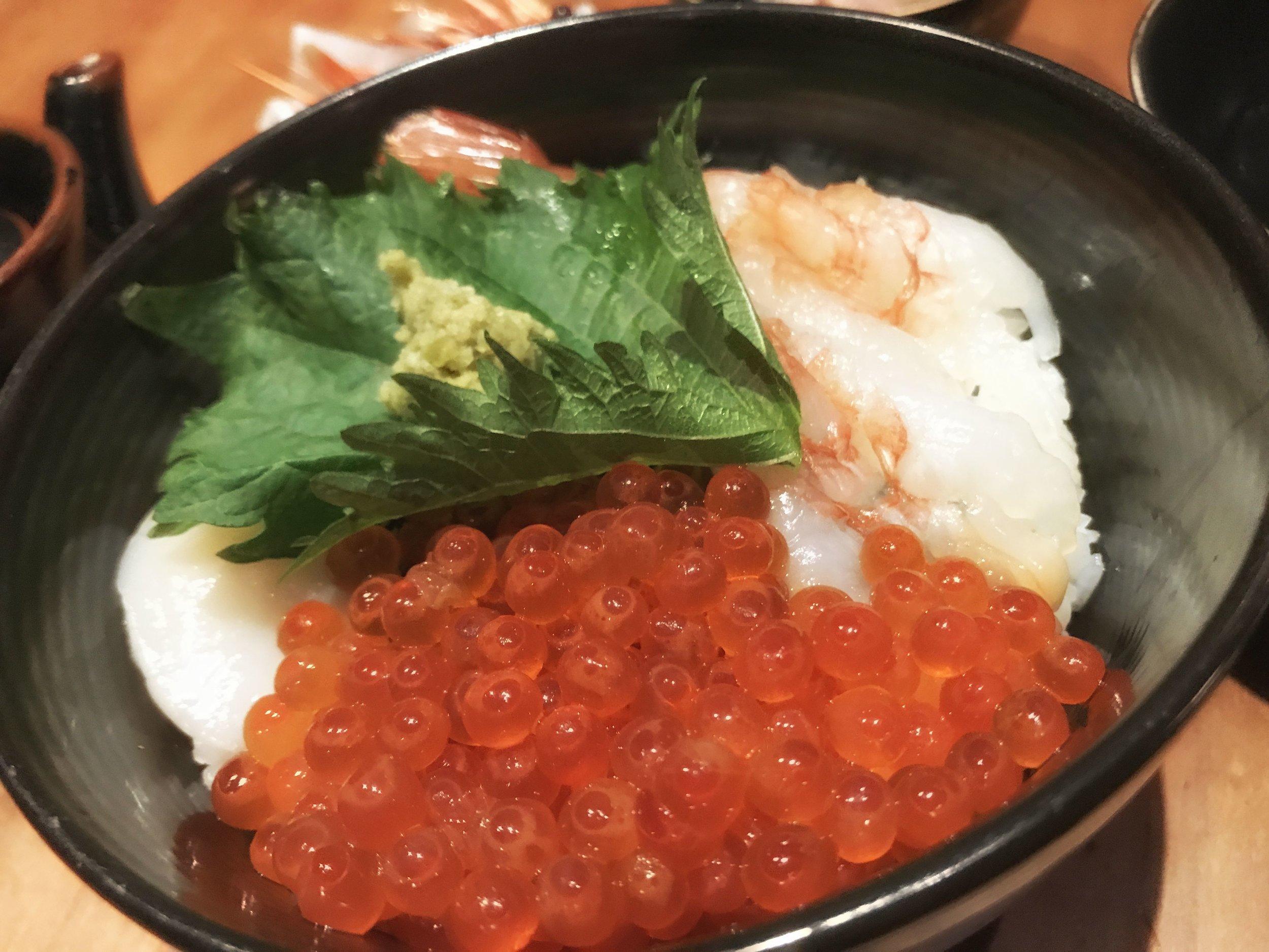 Sanayoku Don:Sea Urchin, Salmon Roe, Scallop over Rice