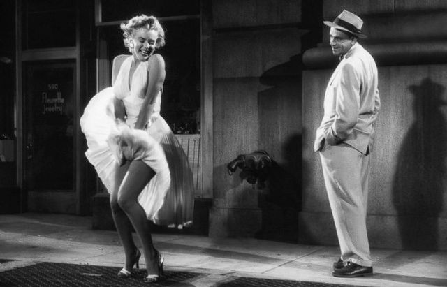 Marilyn Monroe & Thomas Ewell on The Seven Year Itch (Photo via  Art-Stew )