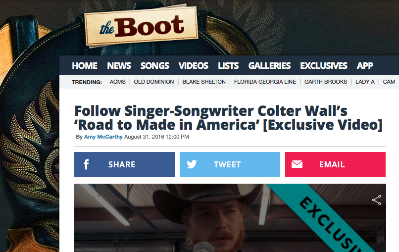 FULL ARTICLE AVAILABLE: http://theboot.com/colter-wall-road-to-made-in-america-festival-video/