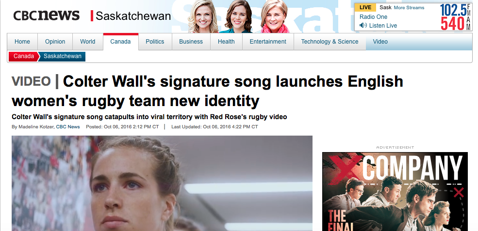 FULL ARTICLE AVAILABLE: http://www.cbc.ca/news/canada/saskatchewan/colter-wall-signature-song-used-in-english-women-s-rugby-team-revamp-1.3794499
