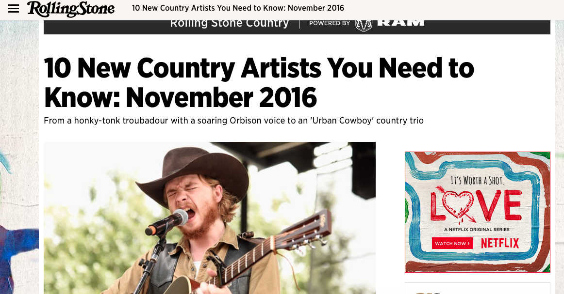 FULL ARTICLE AVAILABLE: http://www.rollingstone.com/country/lists/10-new-country-artists-you-need-to-know-november-2016-w448819/colter-wall-w448829