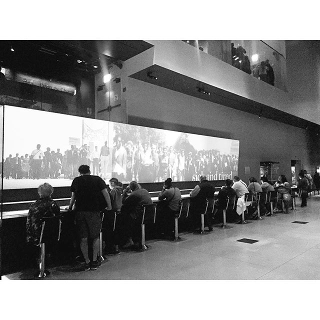 Reminiscing on my visit to @nmaahc two weeks ago. It was a beautiful building inside and out. Greatly appreciated the invitation to explore more through digital interactions accompanied by seating. This was a great example of integrating curatorial, educational and design objectives for the #GreensboroLunchCounter.  #MuseumSeating