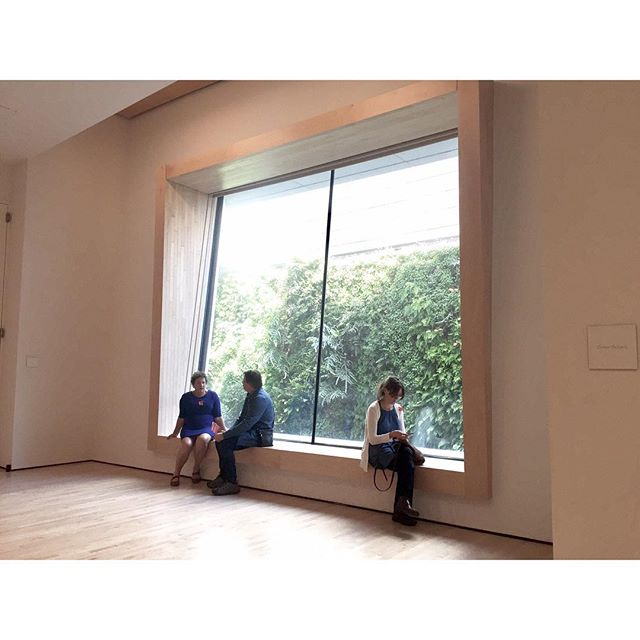 Beautiful window sill/seat by #snøhetta framing a welcomed sight of the living wall outside. #MuseumSeating