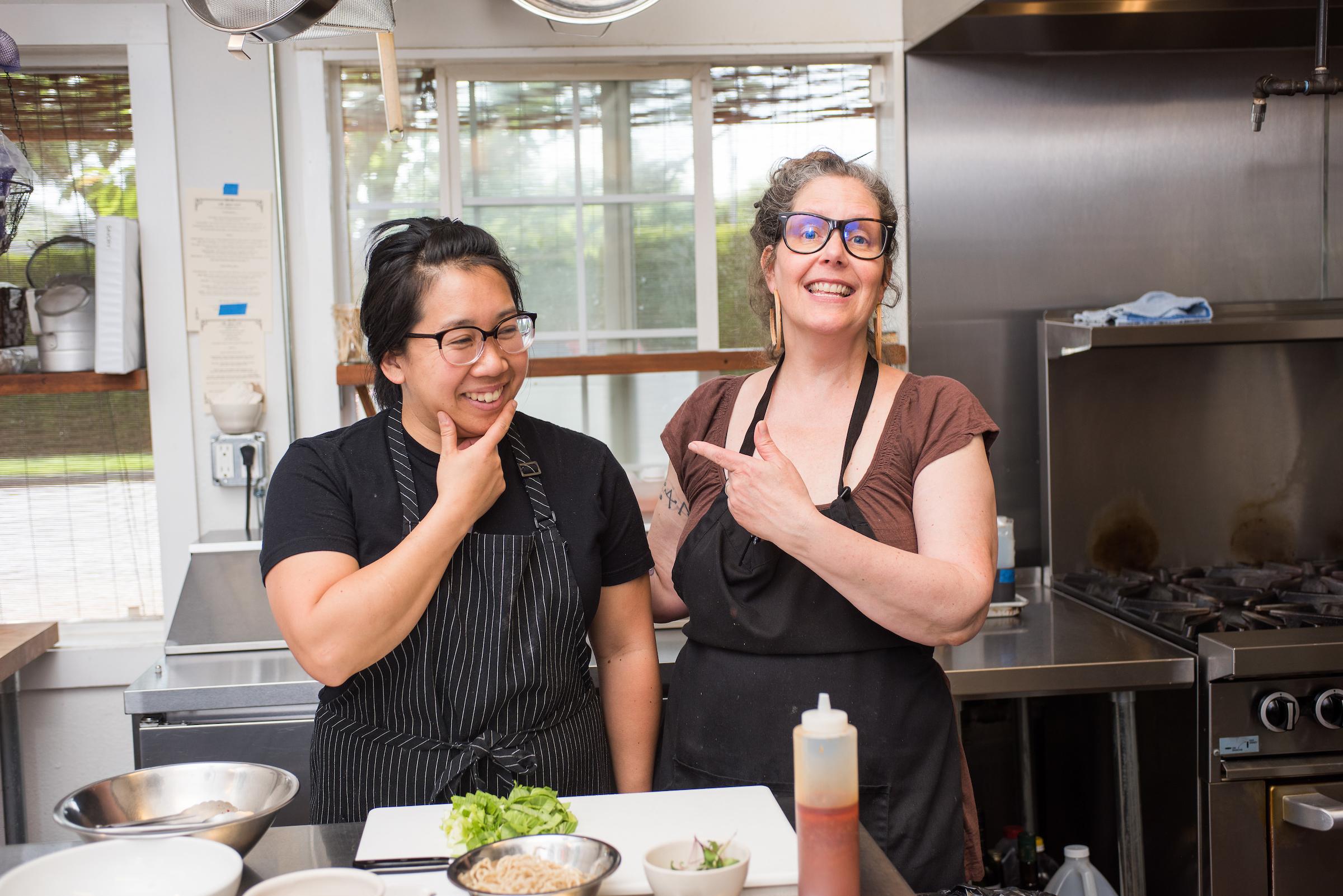 Nancye Benson and Jane Hashimawari, Co-Owners of Milk Glass Market in Portland, Oregon.
