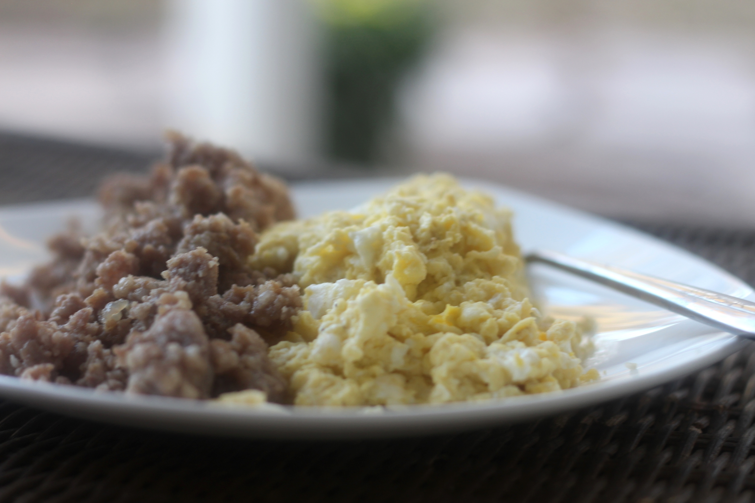 Breakfast this morning! Eggs and sausage weighed and measured (hubs does that part)