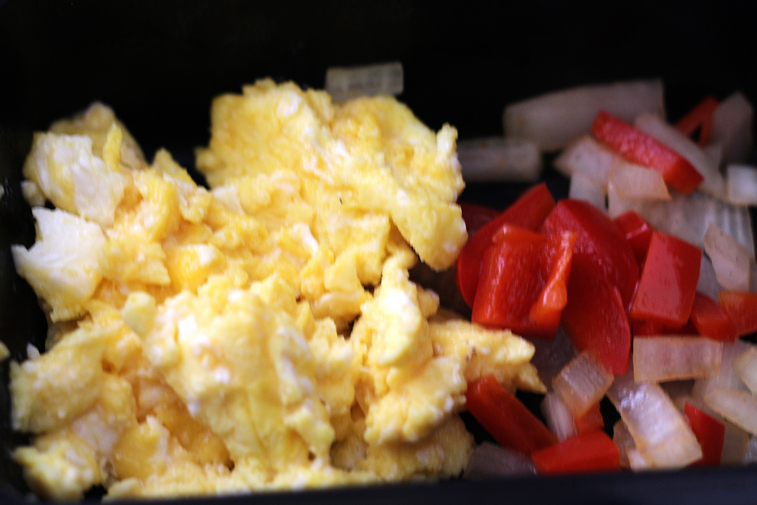 Bfast: Scrambled eggs, peppers, onions sautéed in olive oil!