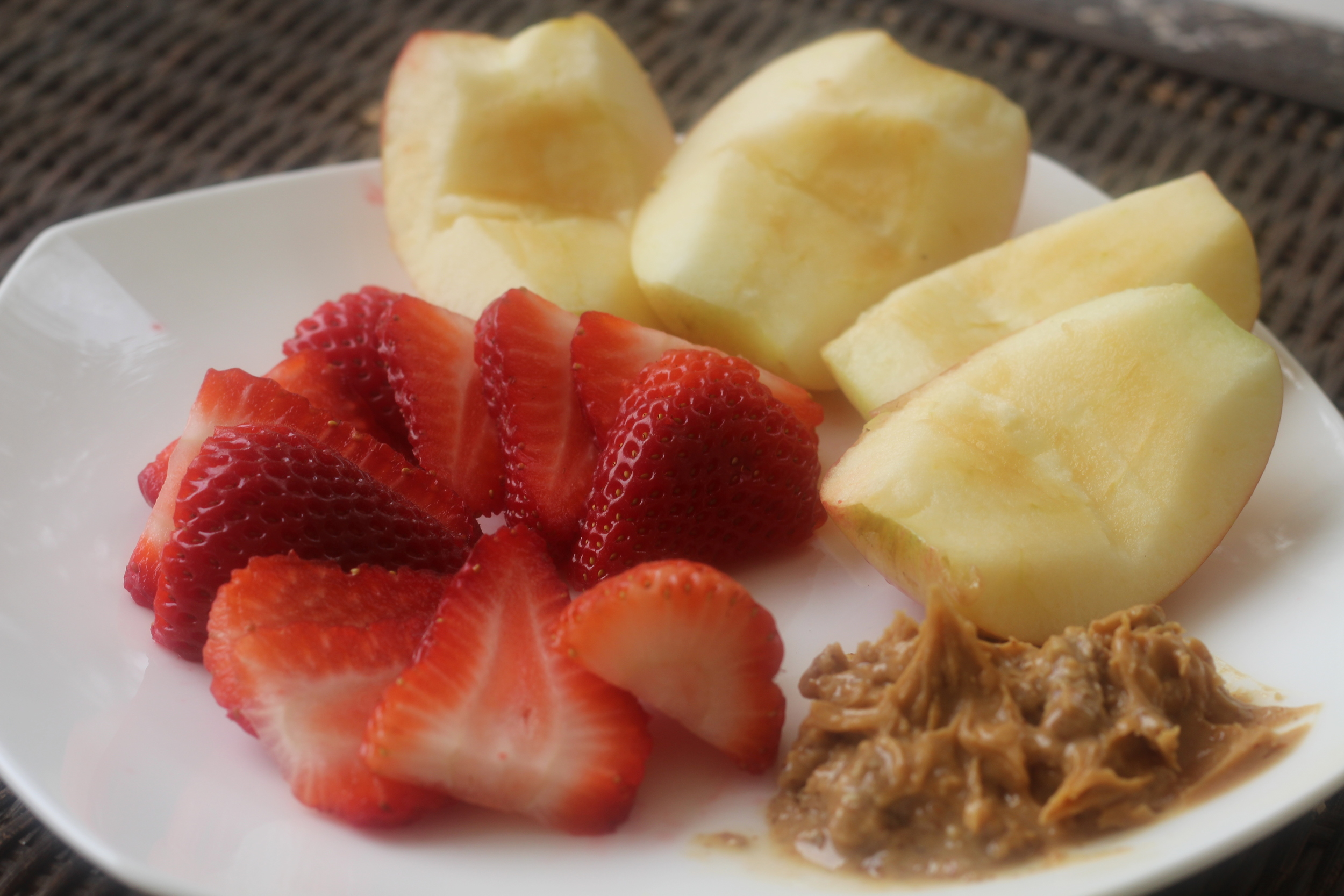 Dessert: Strawberries and Gala Apple with Almond Butter
