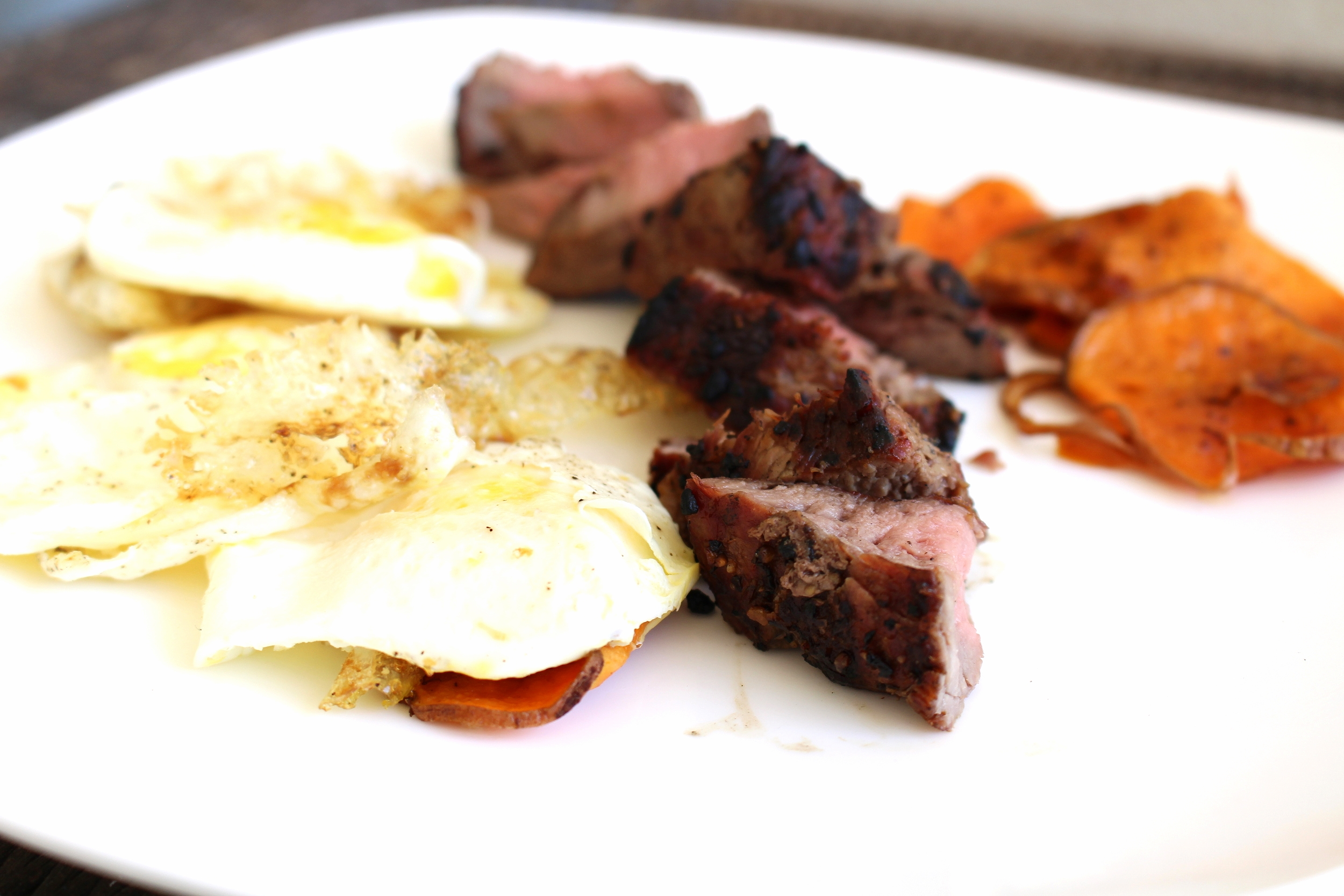 Bfast! Over Medium Eggs, Steak, Sweet Potatoes Sautéed in Olive Oil