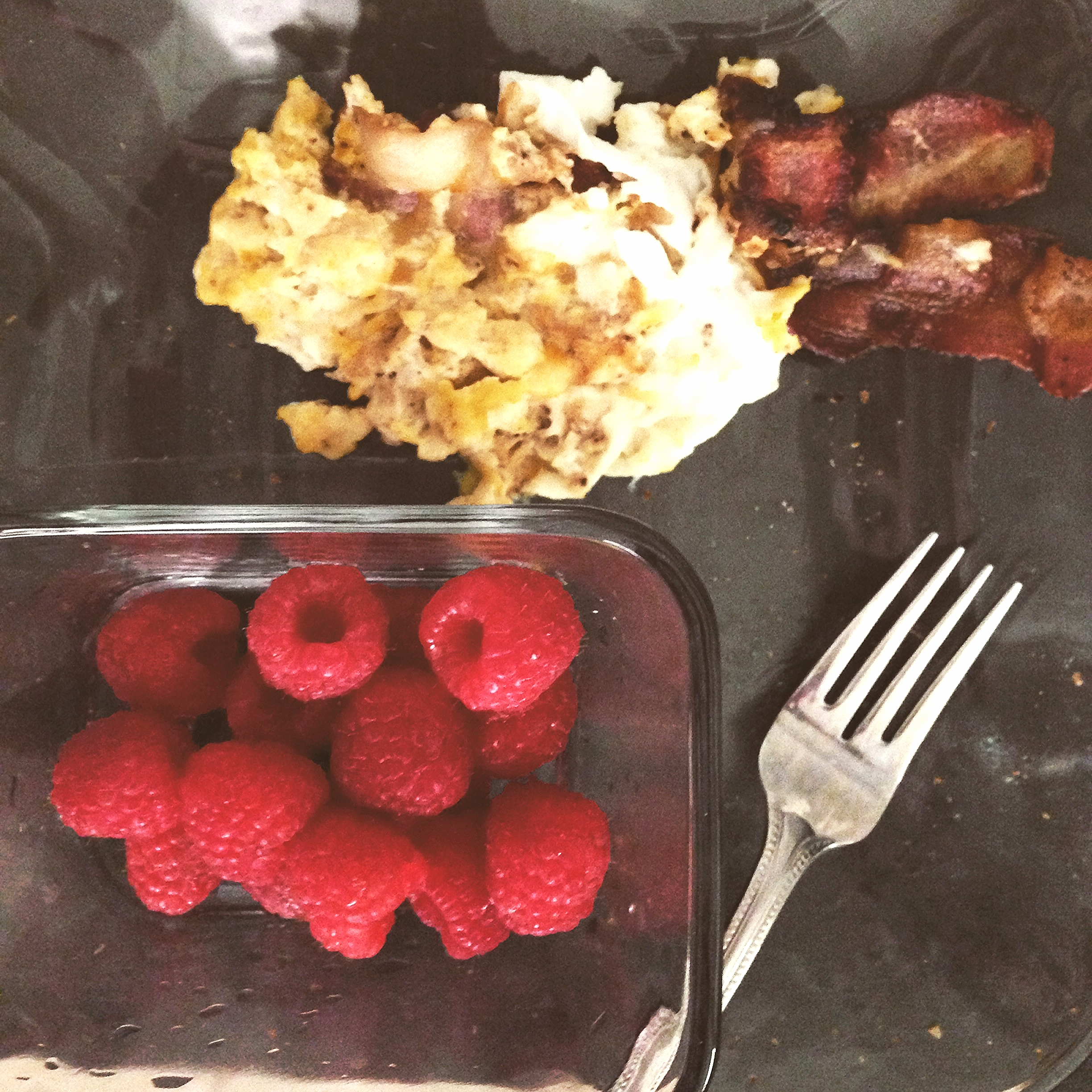 Breakfast: Scrambled eggs, Bacon, Raspberries!