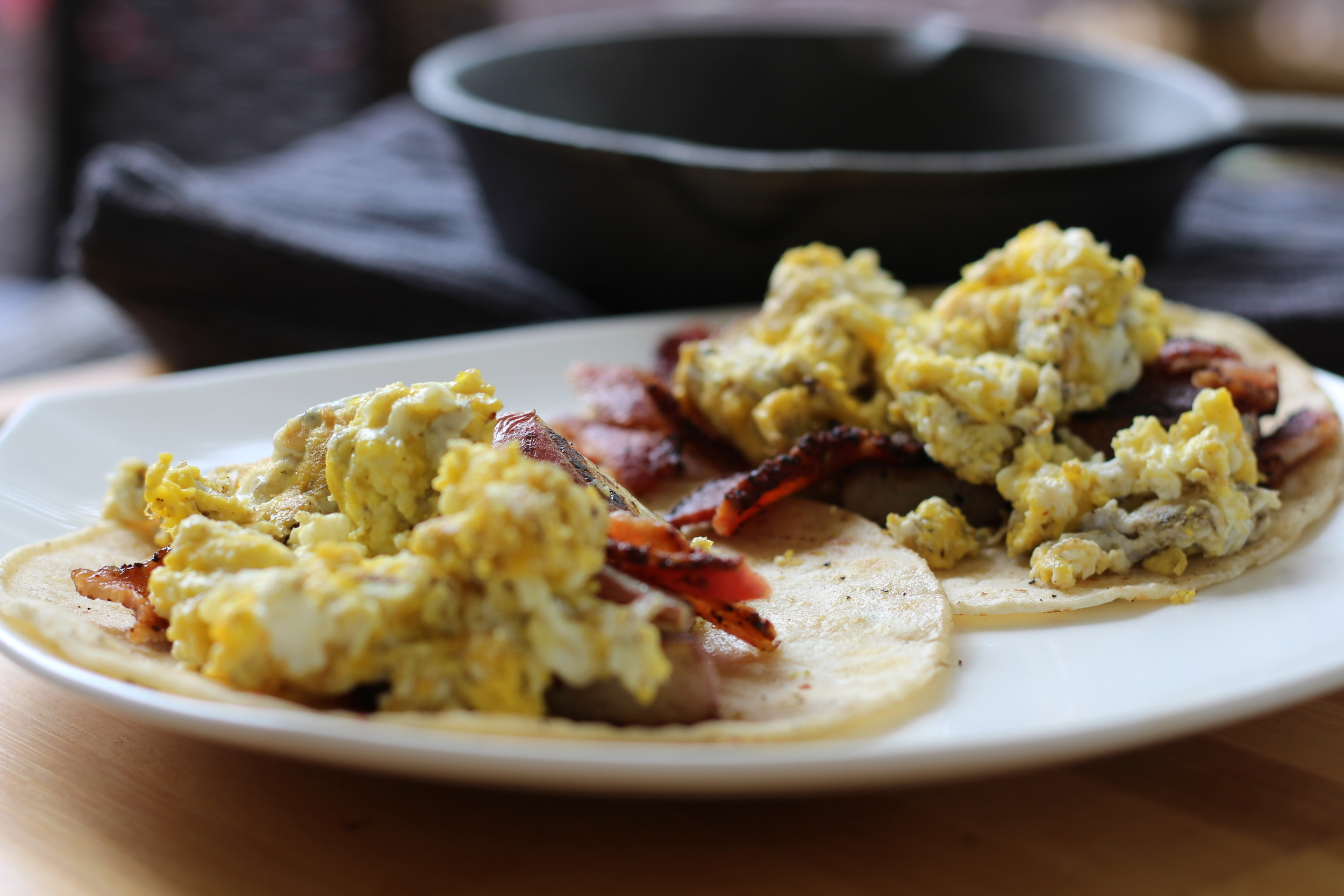Breakfast Tacos!: Corn Tortillas, eggs and bacon!