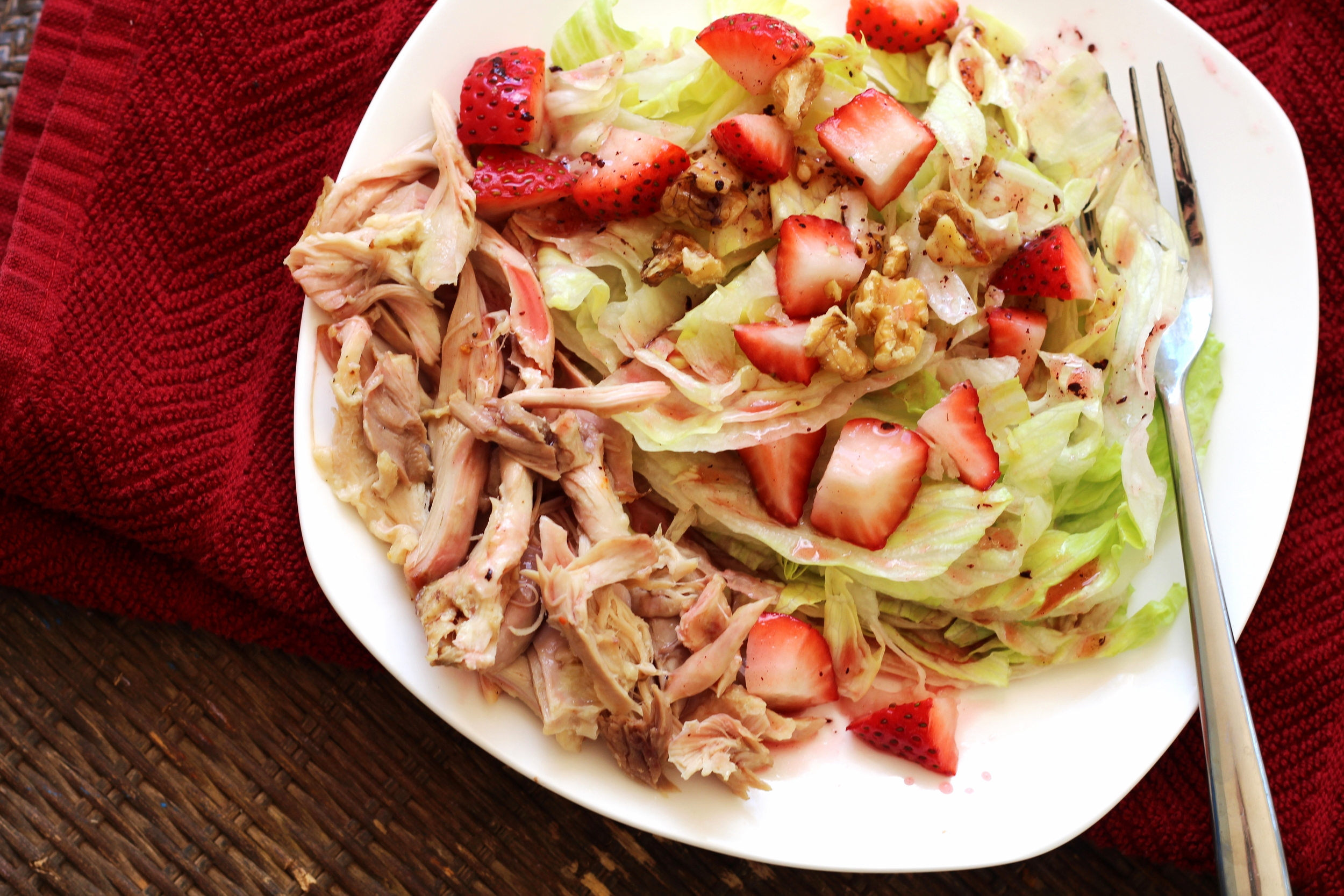 Lunch: Iceberg Lettuce Salad, With chicken thigh meat, strawberries and walnuts. olive oil and raspberry Vinaigrette added on top with walnuts!