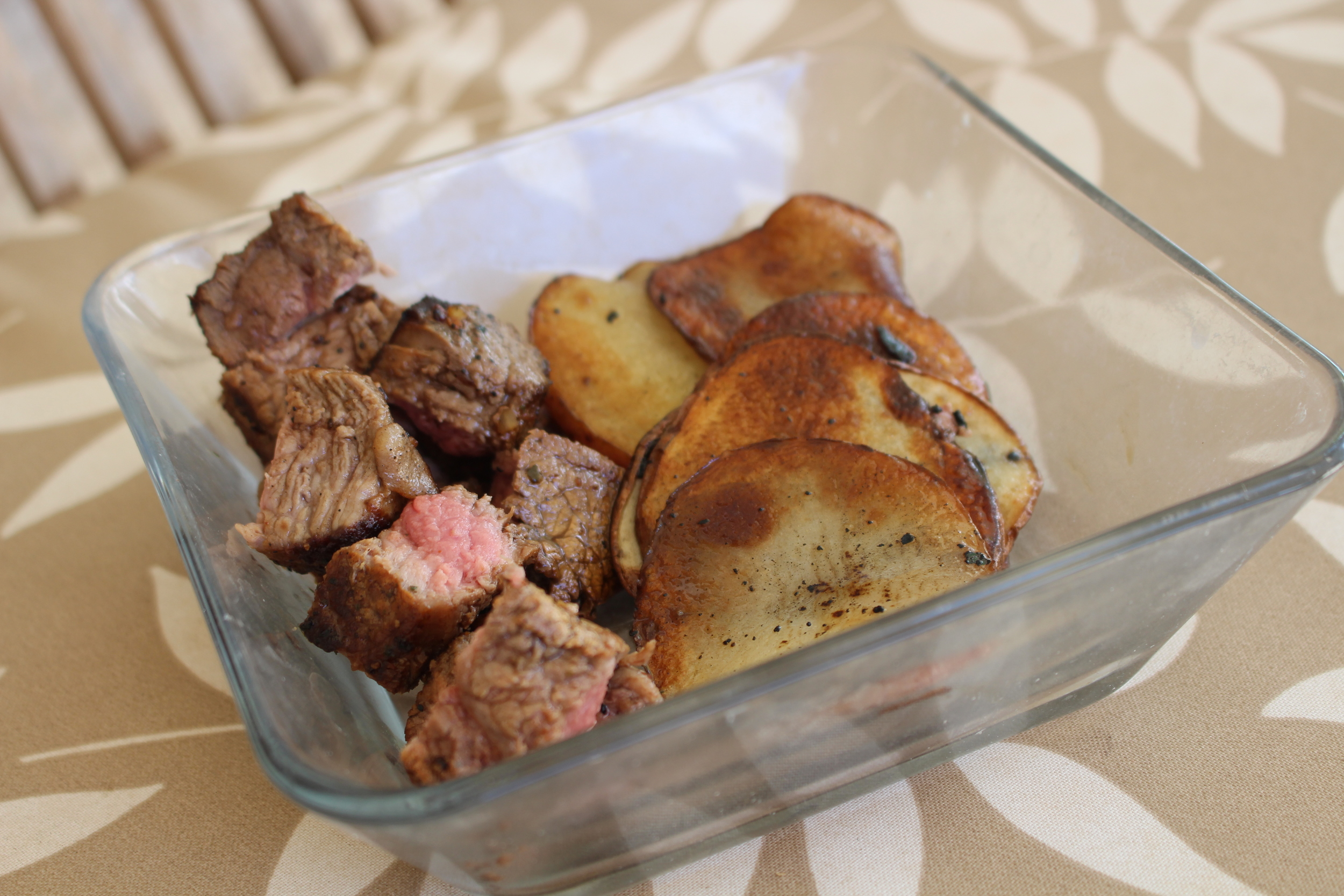 Lunch: Ribeye Steak with Red Potatoes fried in coconut oil!